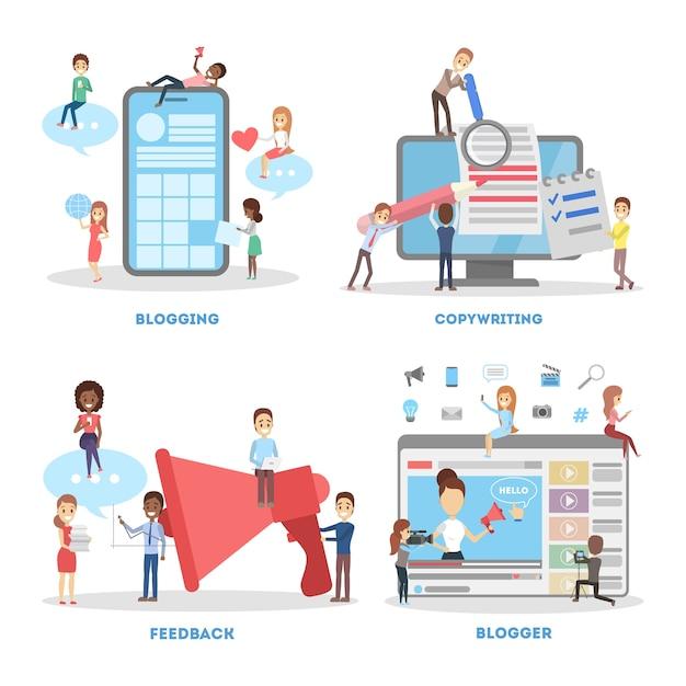 Blogging banner set. copywriting and feedback concept Premium Vector