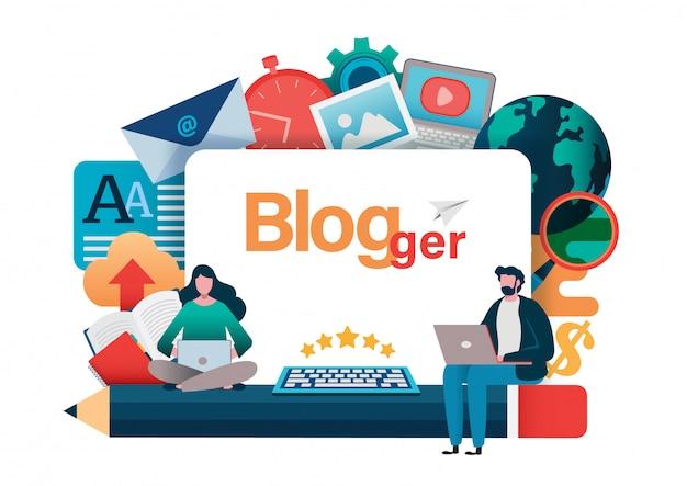 Blogging、bloggerフリーランス。 Premiumベクター