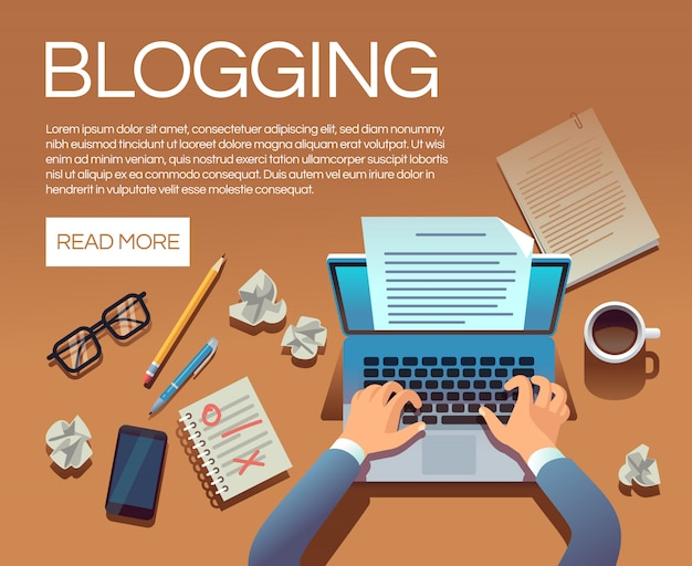 Blogging concept. writing story book and blog articles. writer journalist copywriter type on laptop vector banner Premium Vector