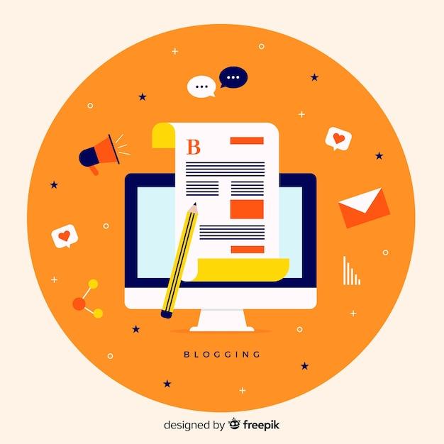 Blogging concept Free Vector