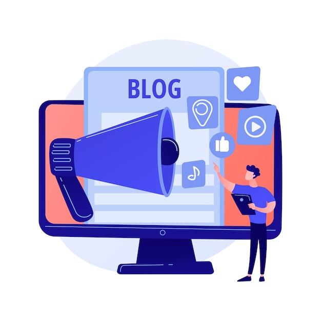 블로깅 재미. 콘텐츠 제작, 온라인 스트리밍, 비디오 블로그. 소셜 네트워크에 대한 셀카 만들기, 피드백 공유, 자기 프로모션 전략 어린 소녀. 무료 벡터
