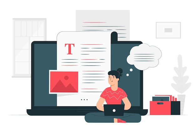 Blogging illustration concept Free Vector