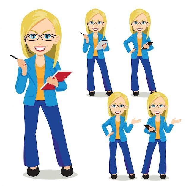 Blonde Bussiness Woman Premium Vector