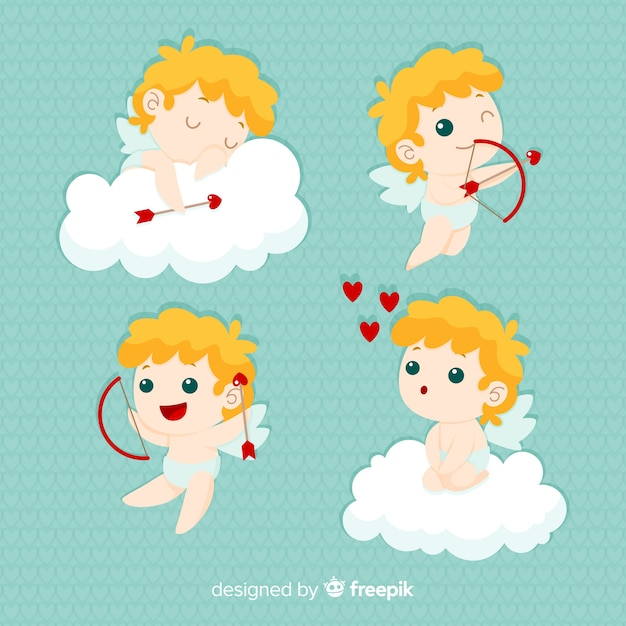 Blonde cherubin valentine collection Free Vector