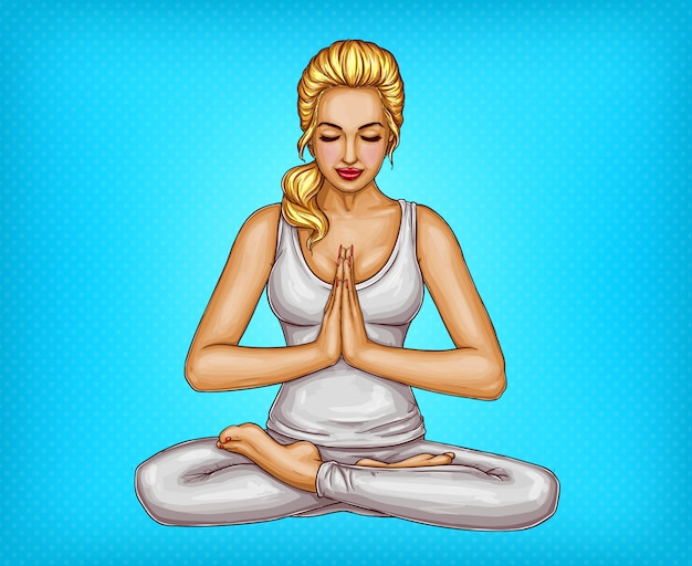 Blonde girl sitting with closed eyes in a lotus\ position or padmasana