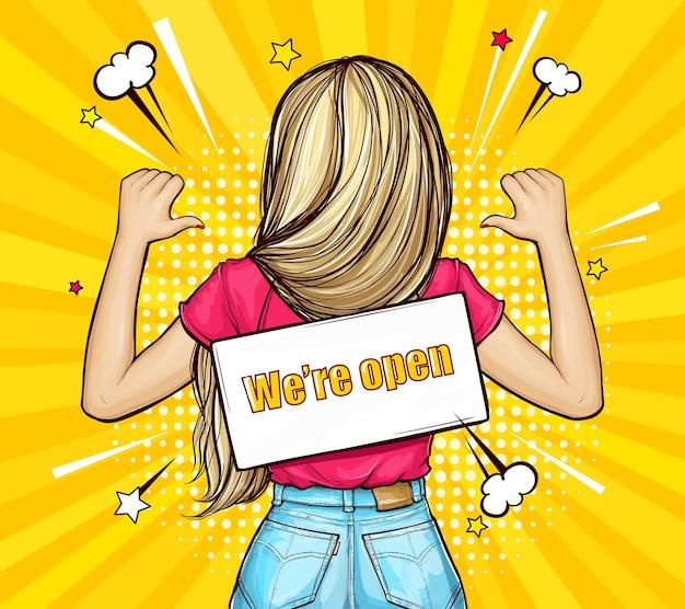 텍스트와 함께 밧줄에 간판으로 거꾸로 서있는 금발 소녀 우리는 팝 아트 스타일로 열려 있습니다. 무료 벡터