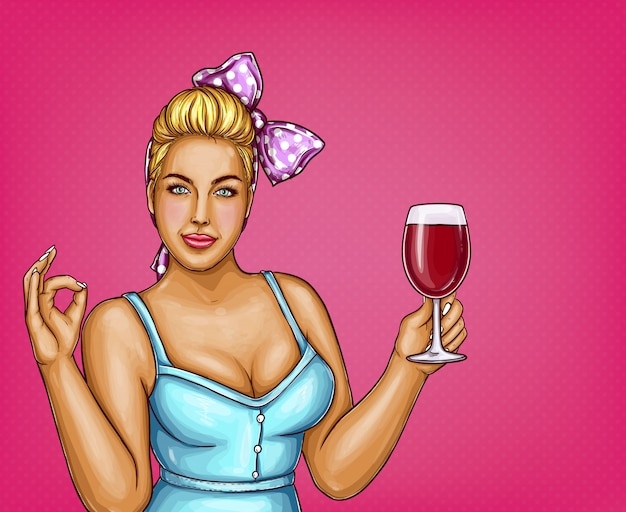 Blonde overweight woman holds glass of wine. fat lady in blue blouse, bow-knot. Free Vector