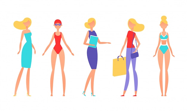 Blonde woman in different styles of clothes, with different hairstyles and poses. Premium Vector