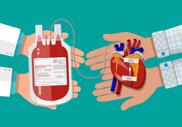 Blood bag and hand of donor with heart Premium Vector