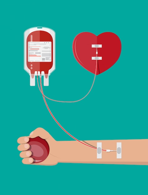 Blood bag, heart and hand of donor Premium Vector