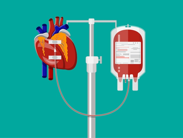 Blood bag and heart at holder Premium Vector