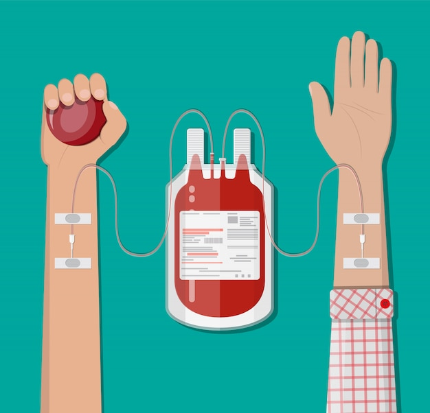 Blood bag at holder and hand of donor Premium Vector