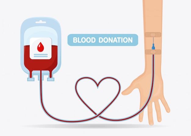 赤いドロップと分離されたボランティアの手で血液バッグ Premiumベクター