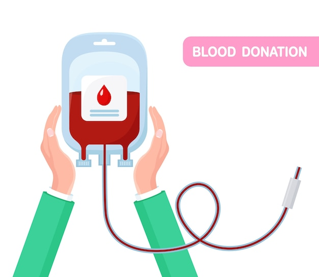 Blood bag with red drop in hand. donation, transfusion in laboratory . save patient life Premium Vector