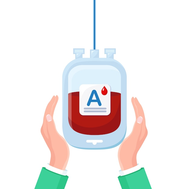 Blood bag with red drop in hand isolated on white background. Premium Vector