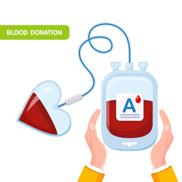 Blood bag with red drop, heart in hand. donation, transfusion in laboratory Premium Vector