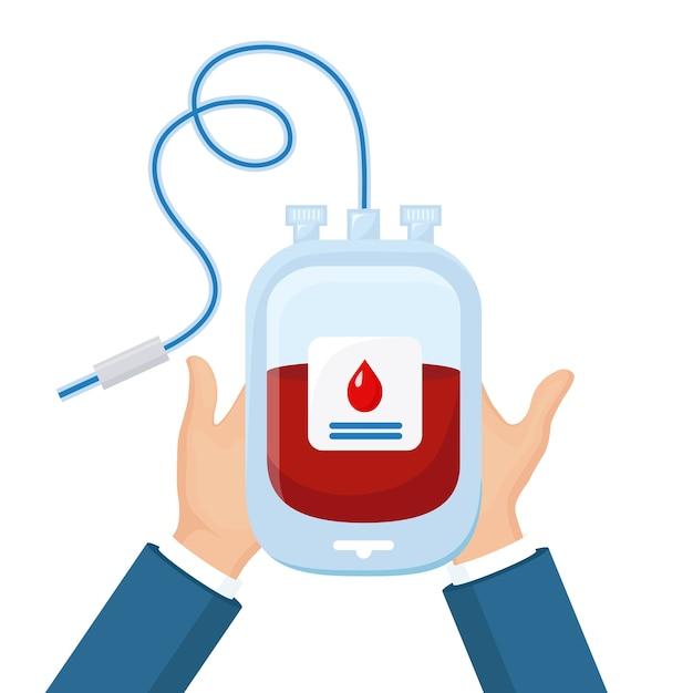 白い背景の上のボランティアの手に赤いドロップと血液バッグ。寄付、医学研究所のコンセプトで輸血。患者の命を救う。プラズマのパック。 Premiumベクター