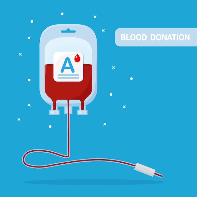 Blood bag with red drop isolated on blue background. Premium Vector