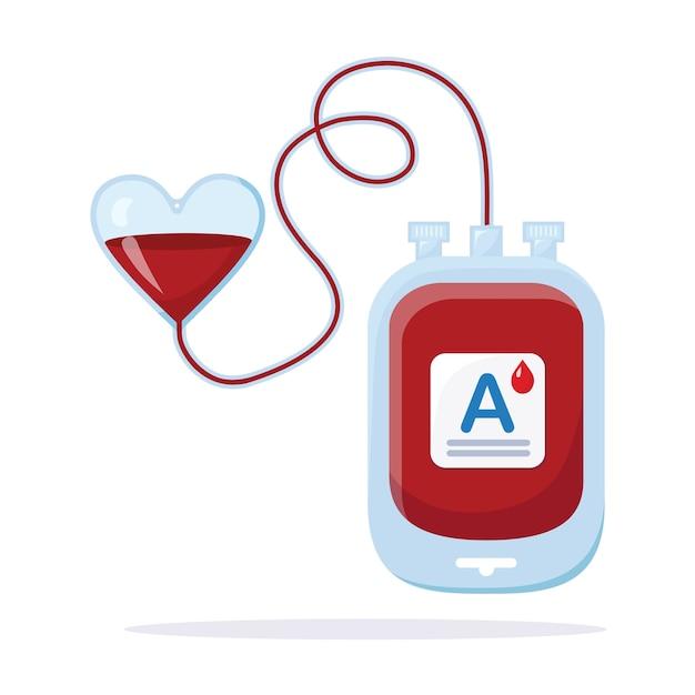 白い背景で隔離の赤い滴と血袋。 Premiumベクター
