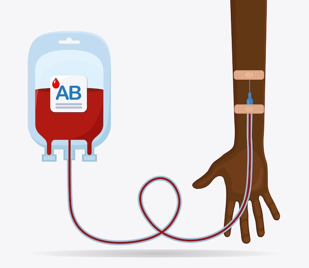 Blood bag with red drop isolated on white background. Premium Vector