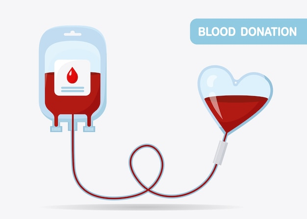 Blood bag with red drop  on whit background. Premium Vector