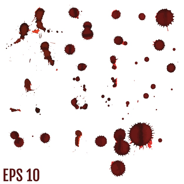 Blood blot, red drops, splatter painted art Premium Vector