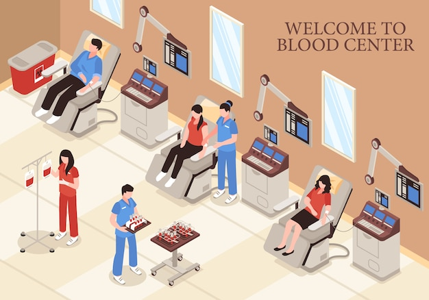 Blood center with donors in chairs modern medical technologies and professional staff isometric illustration Free Vector