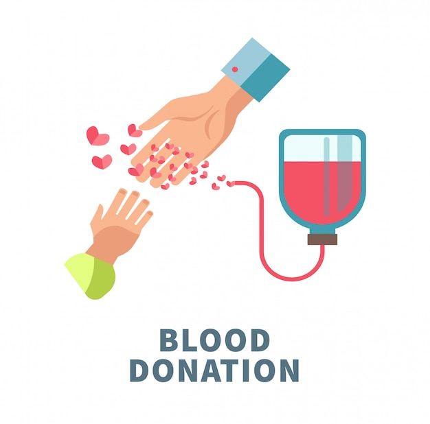 Blood donation agitative poster with adult and child hands Premium Vector