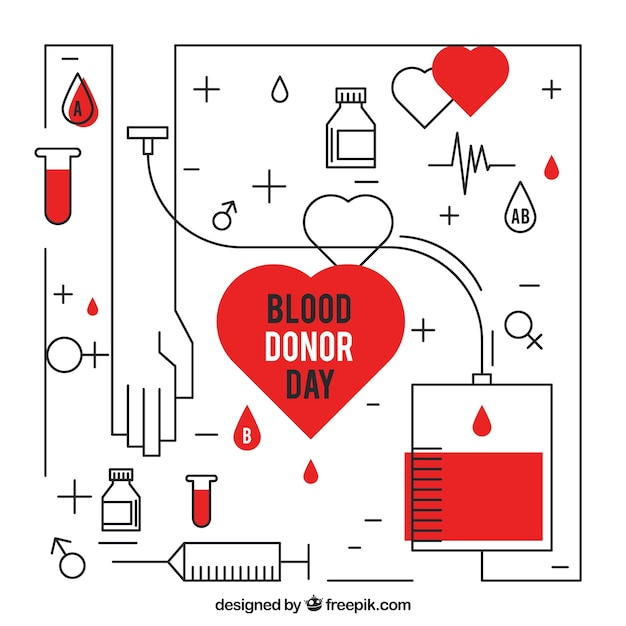 Blood donation background in linear style Premium Vector