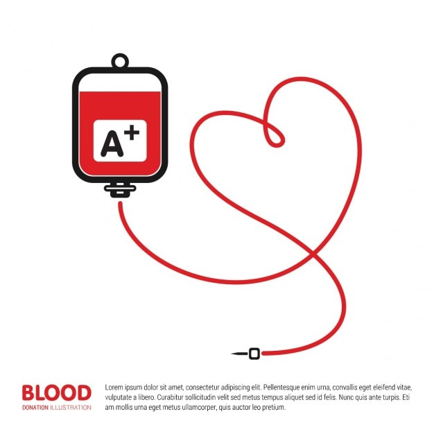 Blood donation bag with tube shaped heart background Free Vector