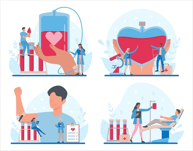 Blood donation concept set. give blood and save life, become donor. idea of charity and help. doctor with a blood vial. Premium Vector