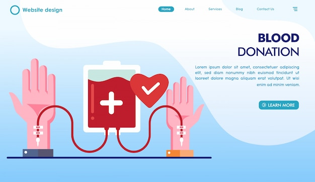 Blood donation day landing page in flat style Premium Vector