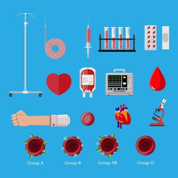 献血日セット。人間が献血する Premiumベクター