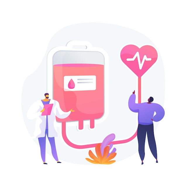 献血。医者と患者の漫画のキャラクター。病院で輸血のために献血するボランティア。ヘルスケア、実験室、ドナー。 無料ベクター
