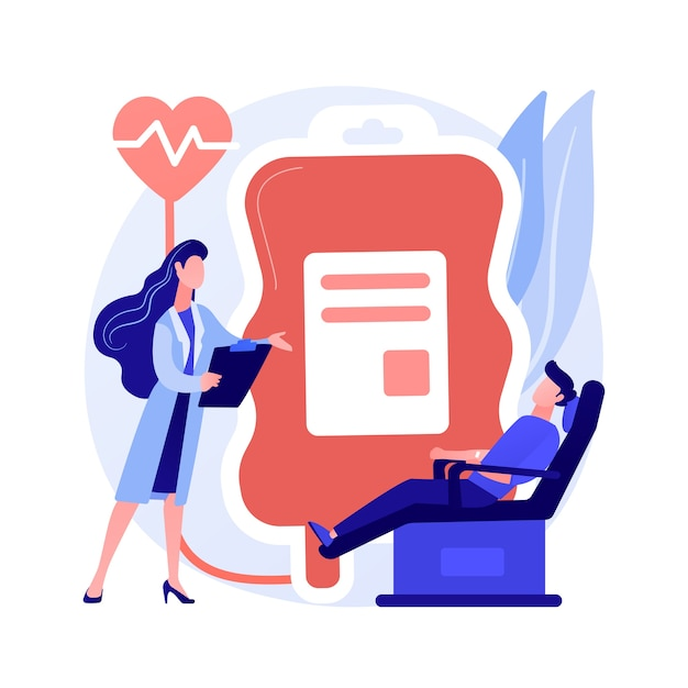 Blood donation. doctor and patient cartoon characters. volunteer donating blood for transfusion in hospital. healthcare, laboratory, donor. vector isolated concept metaphor illustration Free Vector