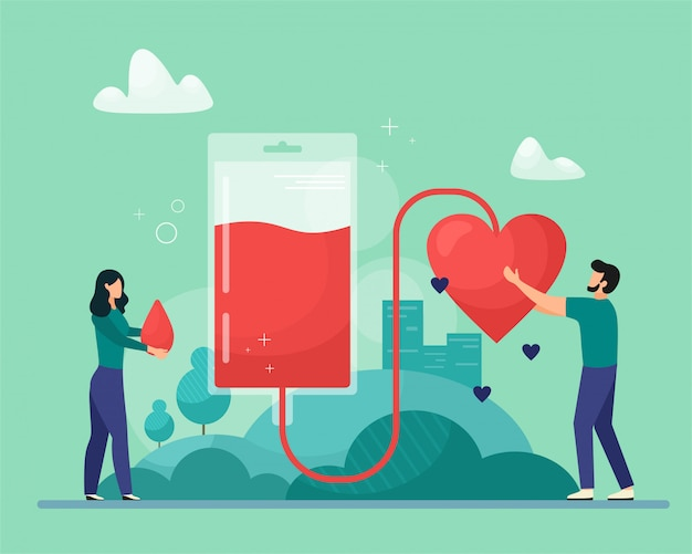 Blood donation  illustration. emergency and blood transfusion concept. patient support. blood collection. illustration in cartoon flat style. Premium Vector