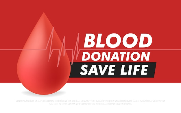 Blood donation lifesaving and hospital assistance poster or flyer. Premium Vector