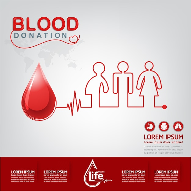 Blood donation vector concept - hospital to begin new life again Premium Vector