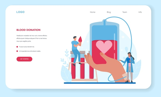 Blood donation web banner or landing page Premium Vector