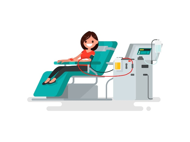 献血。女性は血の図を寄付します Premiumベクター