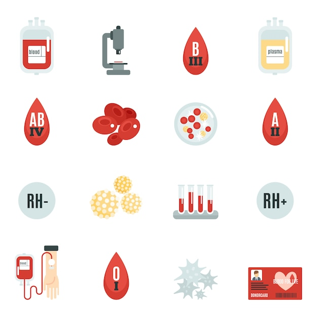 Blood donor icons flat Free Vector