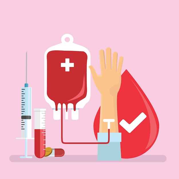 Blood donor tiny people character Premium Vector