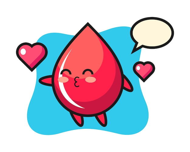 Blood drop character cartoon with kissing gesture, cute style , sticker, logo element Premium Vector