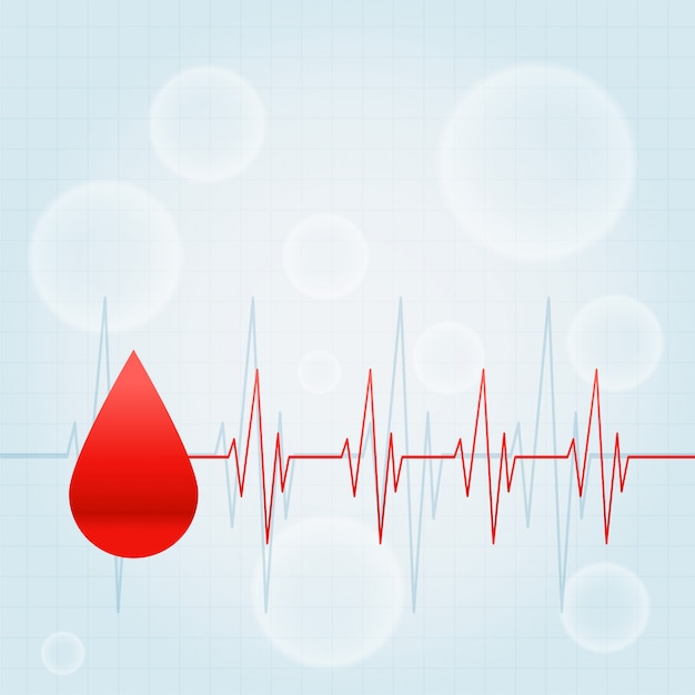 Blood drop with heartbeat lines medical background Free Vector