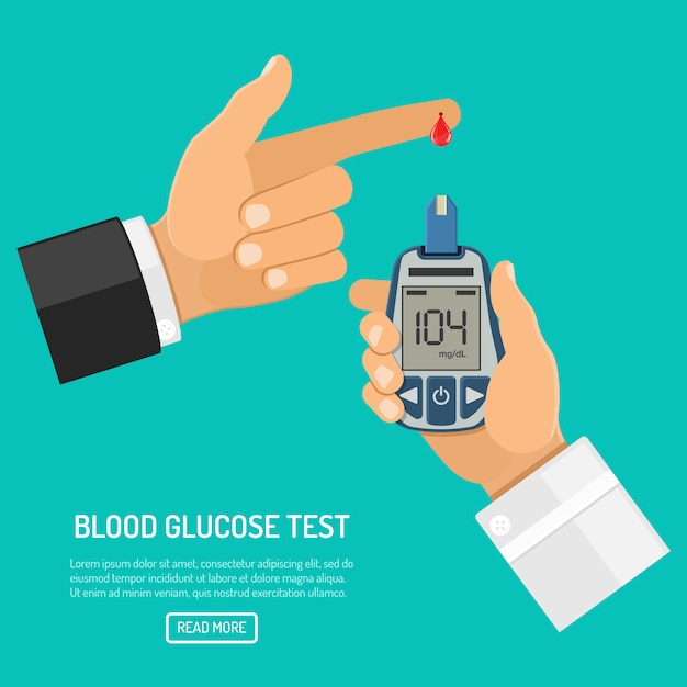 Blood glucose meter in hand Premium Vector