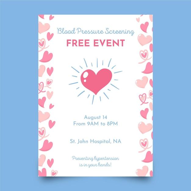 Blood pressure screening poster template Free Vector