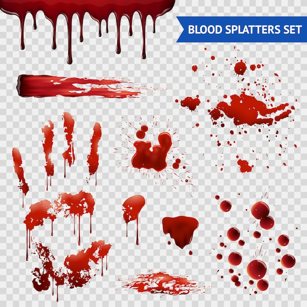 Blood spatters realistic samples transparent set Free Vector
