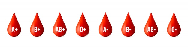 Blood type group, medicine donor day element. Premium Vector