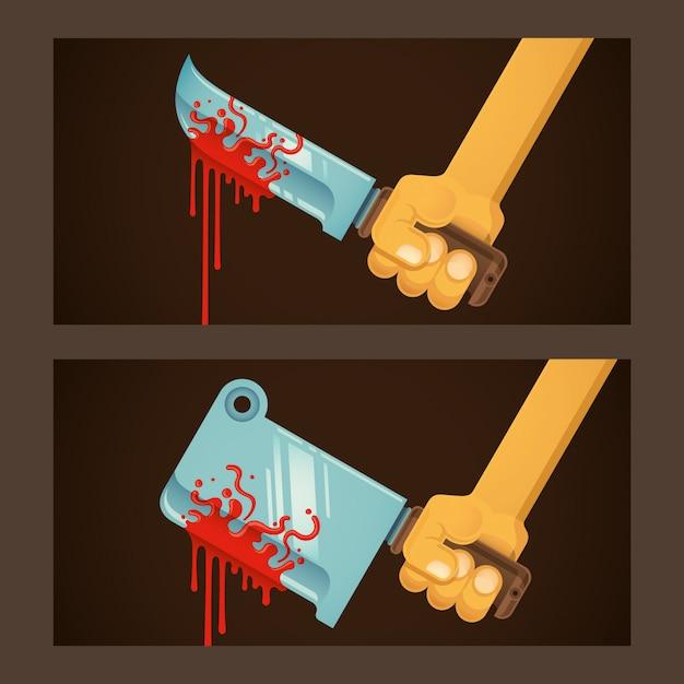 Bloody blades illustration Premium Vector