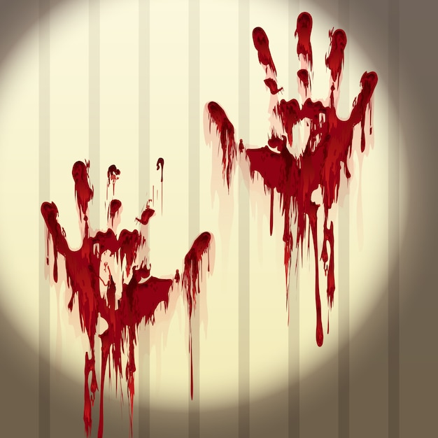 Bloody hand prints on a wall Premium Vector